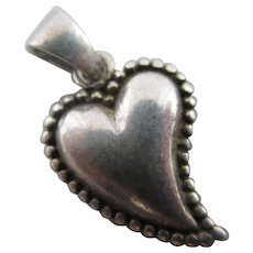 Witch Heart Sterling Silver Pendant Charm Vintage c1980.