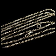 "9k Long Guard Chain Link Necklace 155.6cm / 61.2"" Antique Victorian c1860."