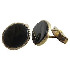 Black Onyx 9k Gold Cufflinks Vintage 1995 English Hallmark.