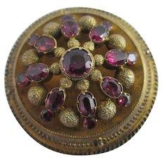 Almondine Garnet 15k Gold Locket Brooch Pin Antique Victorian c1860.
