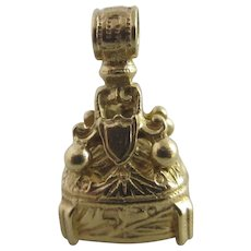 Black Onyx 9k Gold Pendant Fob Charm Vintage 1964 English Hallmark.