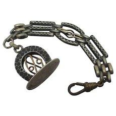 Watch Chain Fob Seal Pendant Niello Silver 9k Gold Antique Victorian c1890.