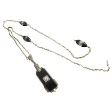 Diamond Black Onyx 18k Gold Pendant Necklace a/f Vintage Art Deco c1920.