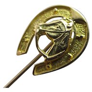 Lucky Horseshoe Horse Head 18k Gold Stick Pin Brooch Vintage Art Deco c1920.