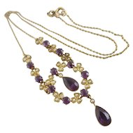 Amethyst & Seed Pearl 15k Gold Dangling Pendant Necklace Antique Victorian c1890.