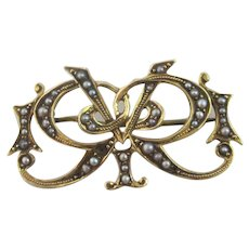 Seed Pearl Bow 15k Gold Brooch Pin Antique Edwardian c1910.