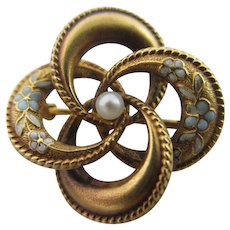 Forget Me Not Enamel Seed Pearl 14k Gold Brooch Pin Antique Edwardian c1910.