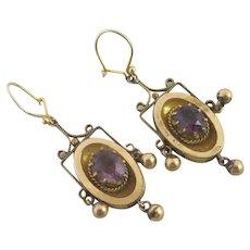 Amethyst Paste 9k Gold Dangling Pendant Earrings Antique Victorian c1890.