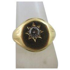 Diamond 18k Gold Signet Ring Vintage c1960 English Hallmark.
