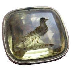 Bird Family Crest Intaglio Seal 9k Gold Cased Pendant Fob Antique Victorian c1840.