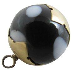 Christmas Pudding Glass 14k Gold Pendant Charm Vintage c1950.