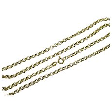 "9k Gold Chain Link Necklace 61.0 cm/ 24.0"" Vintage 1988 English Hallmark."