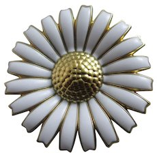 Danish Georg Jensen Enamel Flower Brooch Pin Vintage c1980.