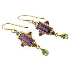 Amethyst Peridot 9k Gold on Sterling Silver Dangling Ear Pendant Earrings Vintage Art Deco c1920.