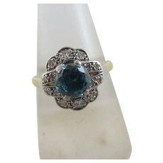 Blue Zircon Diamond 18k Gold Ring Vintage Art Deco c1920.