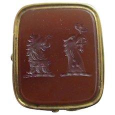 Intaglio Carnelian Family Crest Seal 9k Gold Pendant Fob Antique Victorian c1840.