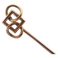 Celtic Knot 15k Gold Stick Pin Brooch Antique Victorian c1890.