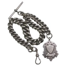Stationmaster Goliath Sterling Silver Watch Chain & Fob Antique English 1897 Victorian Hallmark.