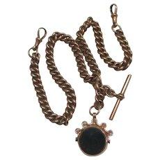 Bloodstone Carnelian Flip Fob 9k Gold Albert Watch Chain Antique Victorian 1900 English Hallmark.