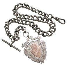 Chunky Sterling Silver Watch Chain & Fob Antique Victorian 1900 English Hallmark.