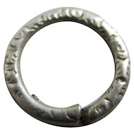 Hand Chased Sterling Silver Split Ring 1.6 cm Diameter Antique Victorian c1860.