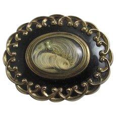 Mourning Hair Enamel 9k Gold Brooch Pin Antique Victorian c1860.