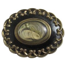 Mourning Hair Enamel 9k Gold Brooch Pin Antique Victorian c1860.