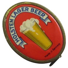 Holsten Lager Beer Advertising Enamel & Gilt Metal Sewing Tape Measure Vintage c1930 Art Deco.