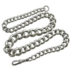 Graduating Sterling Silver Albert Watch Chain Antique Victorian 1899 English.