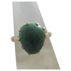 Rough Turquoise Heart 9k Gold Ring Antique Victorian c1890.