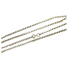 "9k Gold Chain Link Necklace 61.0cm / 24"" Antique Victorian c1890."