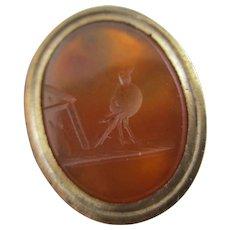 Intaglio Song Bird Seal 9k Gold Cased Fob Pendant Antique Victorian c1840.