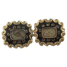Pair Hair Mourning Enamel 9k Gold Brooch Pin Antique Victorian 1845.