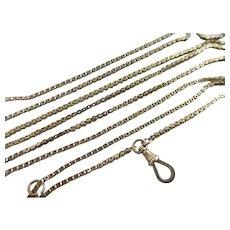 """9k Gold Long Guard Chain Link Necklace 156 cm / 61"""" Antique Victorian c1880."""