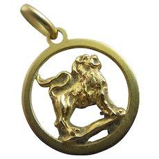 Lion 18k Gold Pendant Vintage c1980.