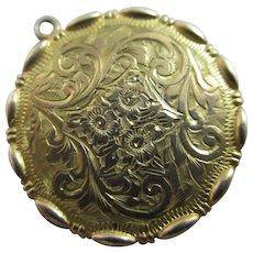 Scottish Glasgow 9k Gold Double Pendant Locket Antique Edwardian 1902.