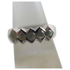 Cats Eye 9k White Gold Ring Vintage English Hallmark.