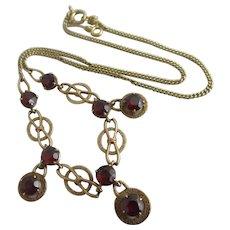 Garnet 9k Gold Dangling Pendant Necklace Vintage 1961 English Hallmark.