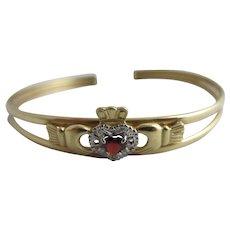 Claddagh Heart Garnet Diamond 9k Gold Bangle Bracelet Vintage c1980 English Marks.