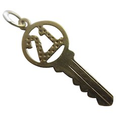 Coming of Age 21 Key to the Door 9k Gold Pendant Charm Vintage c1970.
