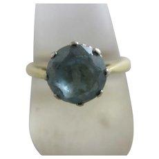 Blue Zircon 18k Gold Ring Vintage English 1967 Hallmark.
