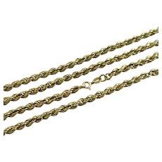 "18k Gold Twist Rope Chain Link Necklace 74.0cm / 29.1"" Vintage c1980."