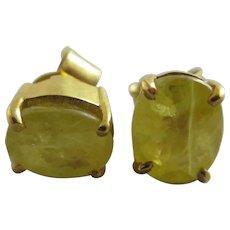 Lemon Topaz 9k Gold Stud Earrings Vintage c1980.