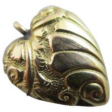 Heart 18k Gold Pendant Charm Antique Victorian c1890.
