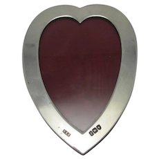 English Heart Sterling Silver Photo Picture Frame Antique Edwardian c1901.