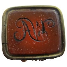 Intaglio 'AW' Carnelian Seal 15k Gold Pendant Fob Antique Victorian c1840.