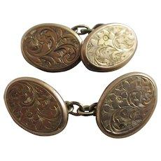 Forget Me Not 9k Gold Cufflinks Antique Edwardian 1903 Chester English Hallmark.