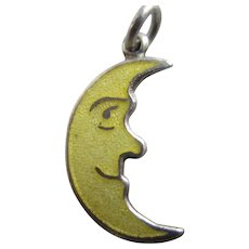Man in the Moon Enamel Sterling Silver Pendant Charm Vintage c1960.