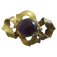 Amethyst Forget Me Not 15k Gold Mourning Locket Brooch Pin Antique Victorian c1840.