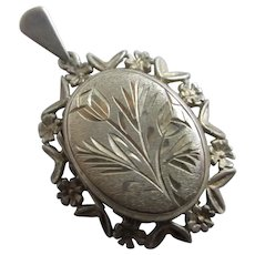 Flower Sterling Silver Double Pendant Locket Vintage English 1974 Hallmark.